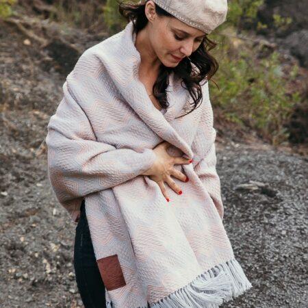 Echarpe laine Alpaga rose