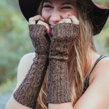 Mitaines en laine d'Alpaga marron